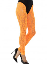 Legging dentelle orange fluo femme