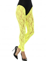Legging dentelle jaune fluo femme