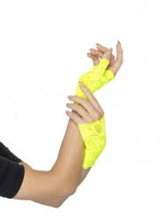 Mitaines dentelle jaunes fluo femme