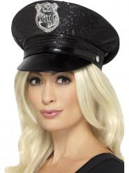 Chapeau noir à sequins policière femme