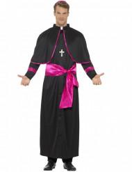 Déguisement prêtre noir et rose homme