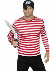 T-shirt rayé rouge et blanc adulte