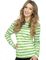 T-shirt rayé vert et blanc adulte