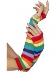 Mitaines rayées multicolores adulte