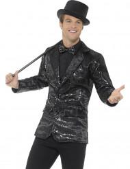 Veste disco noir à sequins luxe homme