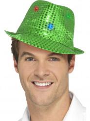 Chapeau borsalino vert à sequins avec LED adulte