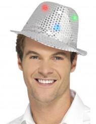 Chapeau borsalino argent à sequins avec LED adulte