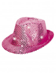 Chapeau borsalino rose à sequins avec LED adulte
