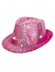 Chapeau borsalino rose à sequins avec LED adulte