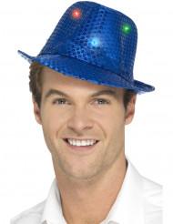 Chapeau borsalino bleu à sequins avec LED adulte