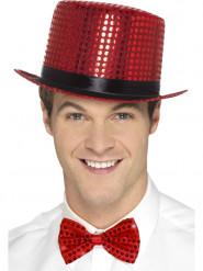 Chapeau haut de forme à sequins rouge avec ruban noir adulte