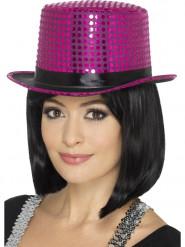 Chapeau haut de forme à sequins rose avec ruban noir adulte