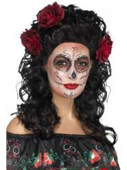 Perruque longue noire avec roses rouges femme Dia de los muertos