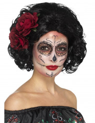 Perruque courte noire avec roses rouges femme Dia de los muertos