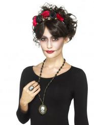 Collier et bague bijoux squelette adulte Halloween