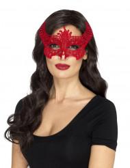 Loup dentelle diablesse rouge femme Halloween