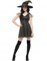 Déguisement sorcière des étoiles dorées femme Halloween