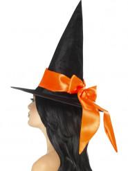 Chapeau noir avec noeud orange femme Halloween