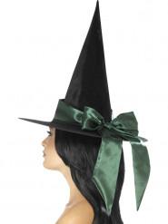 Chapeau noir avec noeud vert femme Halloween