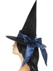 Chapeau noir avec noeud bleu nuit femme Halloween
