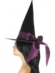 Chapeau noir avec noeud violet femme Halloween