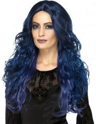 Perruque longue bleue foncée femme