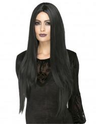 Perruque longue noire résistante à la chaleur femme