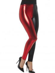 Legging métallisé bicolore noir et rouge femme