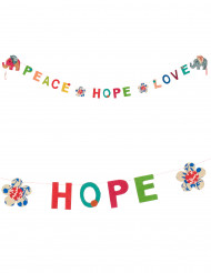 Mini guirlande en lokta Peace, hope and love 1m