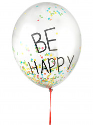 3 Ballons latex confettis multicolores Be Happy 45 cm