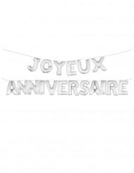Ballons aluminiums lettres Joyeux Anniversaire argentés 36 cm
