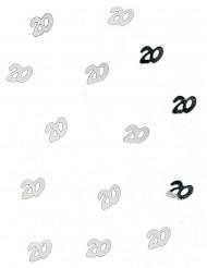 Confettis de table 20 ans argent