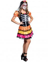 Déguisement squelette coloré adolescente Dia de los muertos