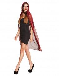 Cape rouge brillante avec capuche 140 cm femme Halloween