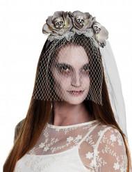 Serre-tête avec voile zombie blanc femme Halloween