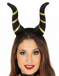 Cornes démoniaques noires femme Halloween