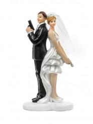 Figurine Mariés agents secrets 14,5 cm