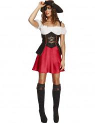 Déguisement pirate sexy marron et rouge femme
