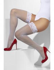 Bas résille blanc avec contour dentelle silicone femme
