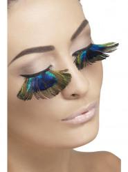 Faux cils plumes de paon femme