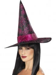 Chapeau sorcière noir et rose à paillettes femme Halloween