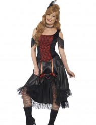 Déguisement saloon noir et rouge sexy femme
