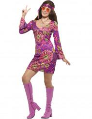 Déguisement hippie flower violet femme