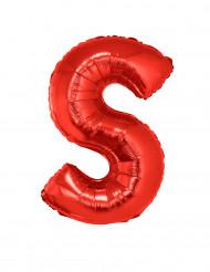 Ballon aluminium géant lettre S rouge 102 cm