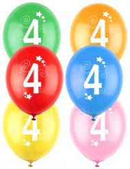 12 Ballons différentes couleurs chiffre âge 4