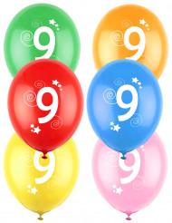12 Ballons différentes couleurs chiffre âge 9