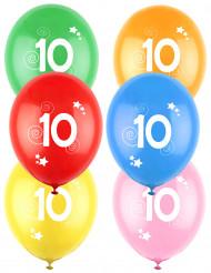 12 Ballons différentes couleurs chiffre âge 10