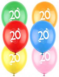 12 Ballons différentes couleurs chiffre âge 20