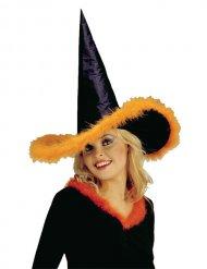 Chapeau de sorcière à plumettes oranges