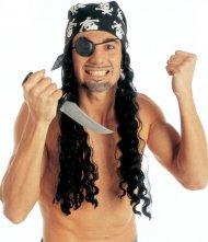 Perruque avec bandana et cache-oeil pirate adulte